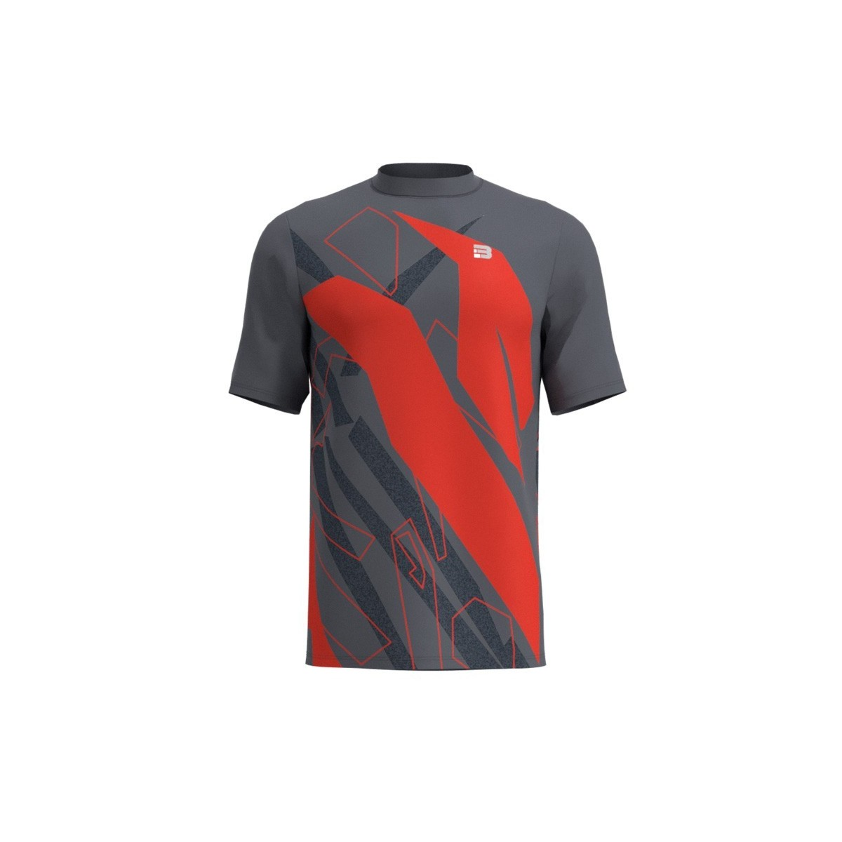 Camiseta Running Spam - GRIS ROJO