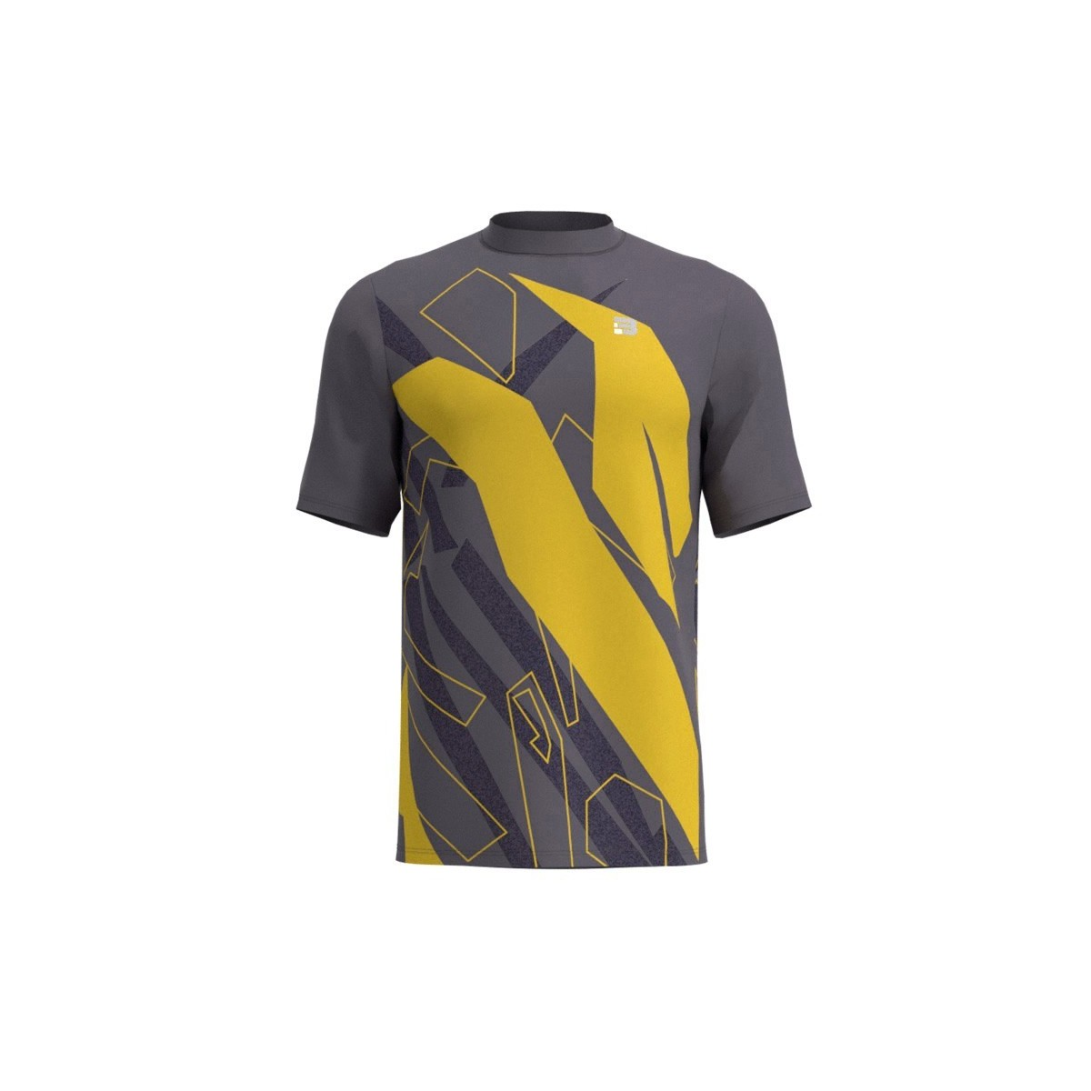 Camiseta Running Spam - GRIS AMARILLO