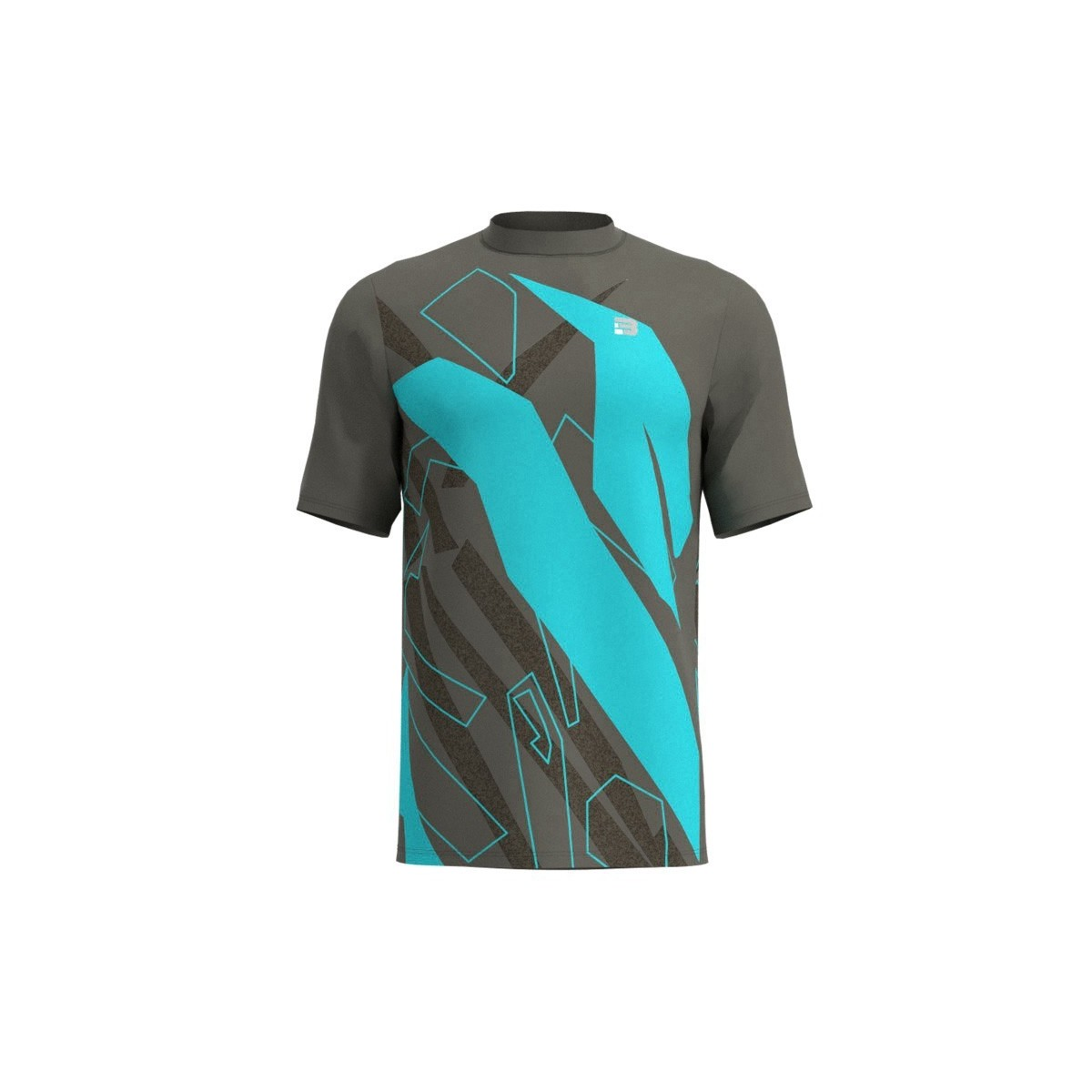 Camiseta Running Spam - GRIS TURQUESA