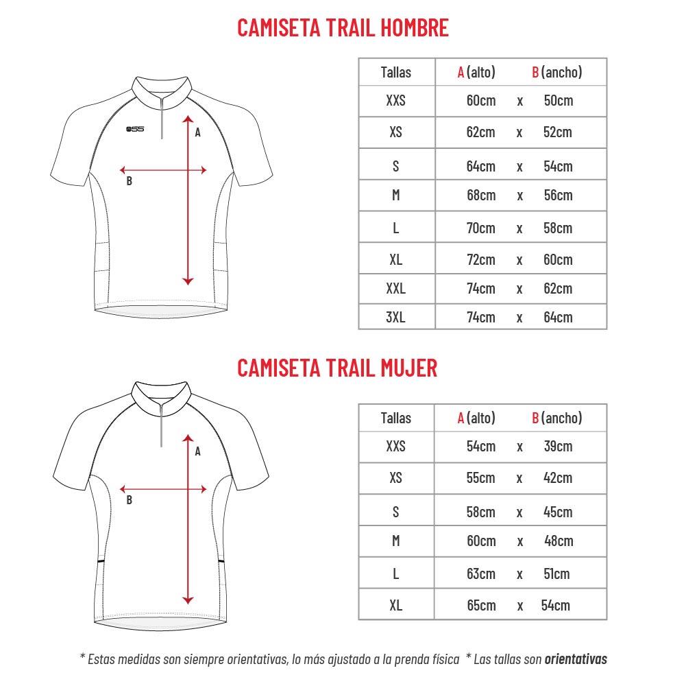 Guía de tallas camiseta trail hombre y mujer