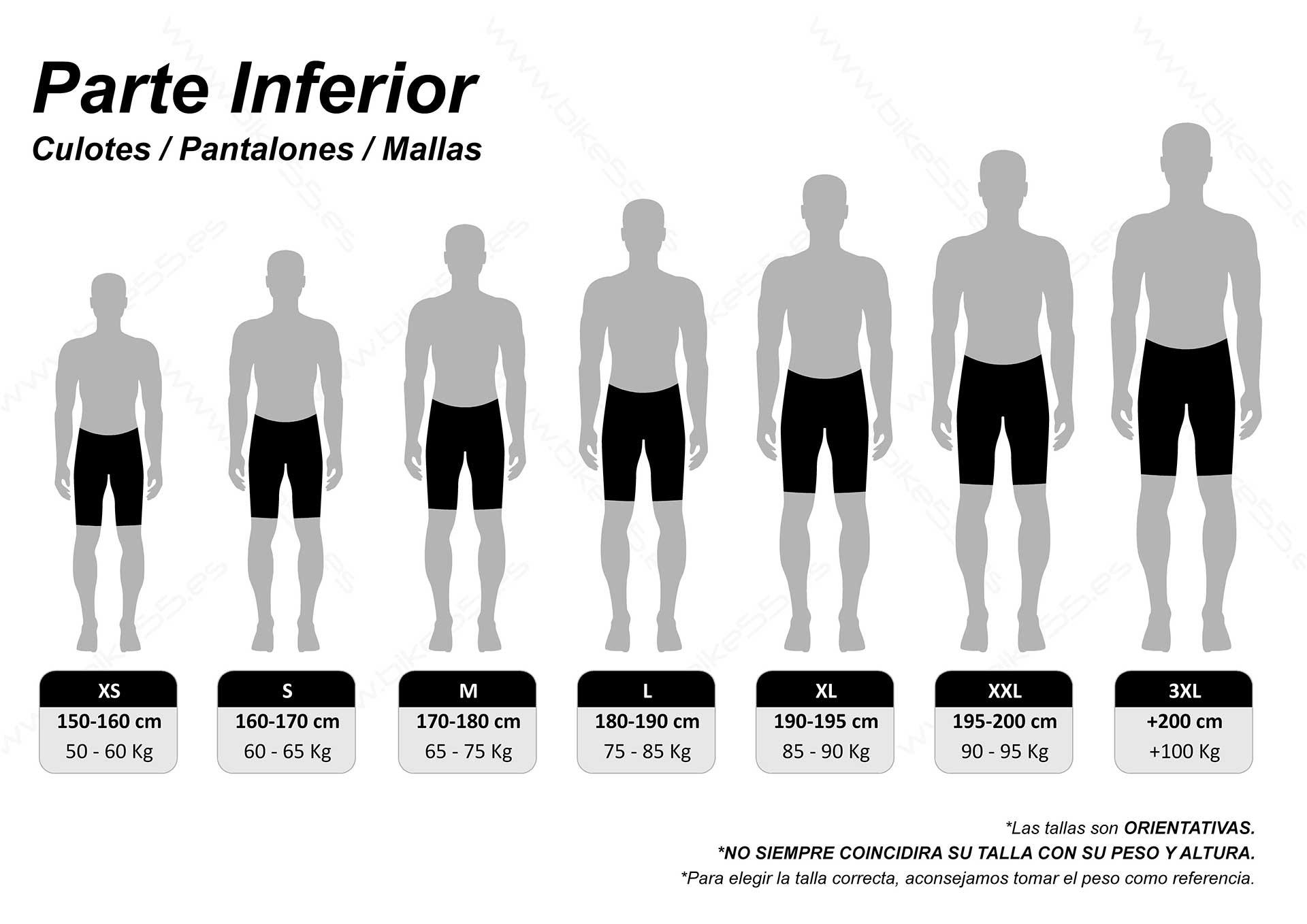 Guía de tallas piernas
