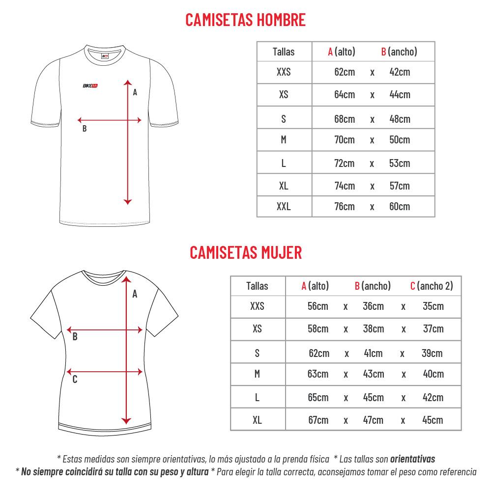 Medidas hombre y mujer camiseta de running